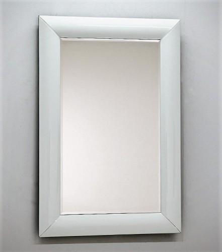 Lustro W Giętej Białej Ramie 80x120